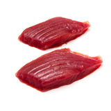 Yellowfin tuna fish steaks isolated on a white background Stock Images