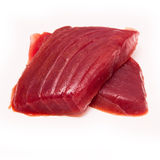 Yellowfin tuna fish steaks isolated on a white background Royalty Free Stock Photography