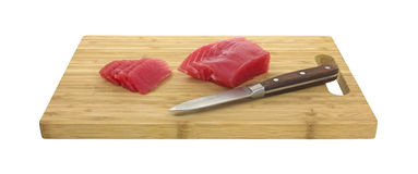Yellowfin tuna with knife Stock Photo