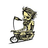 Yellowish bike rider vector illustration. stock illustration