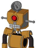 Yellowish Droid With Mechanical Head And Keyboard Mouth And Cyclops Eye And Radar Dish Hat. Portrait style Yellowish Droid With Mechanical Head And Keyboard royalty free illustration