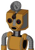 Yellowish Droid With Mechanical Head And Round Mouth And Three-Eyed And Radar Dish Hat. Portrait style Yellowish Droid With Mechanical Head And Round Mouth And stock illustration