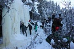 Yellowknife zimy jamy wycieczka turysyczna obrazy stock
