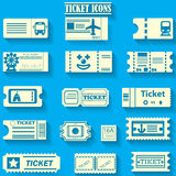 Yellowr color ticket icons on bluebackground Stock Image