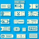Yellowr koloru biletowe ikony na bluebackground Obraz Stock