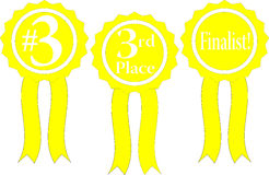Yellowribbon. Three yellow ribbon awards, #3, 3rd place and finalist Stock Photography