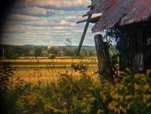 Yellows barn corner Stock Image
