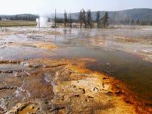 yellowstone Αφηρημένο τοπίο χρώματος των λιμνών και geysers Στοκ εικόνα με δικαίωμα ελεύθερης χρήσης