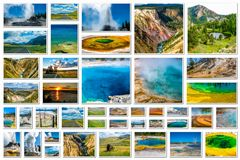 Yellowstone aerial view collage Stock Images
