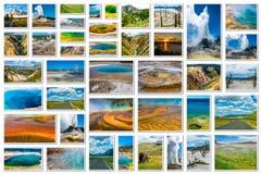 Yellowstone ajardina el collage Foto de archivo libre de regalías