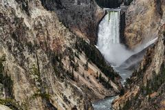 Yellowstone artist point waterfall stock images