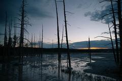 Yellowstone Artist& x27; tramonto di s Paintpot Fotografie Stock