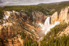 Yellowstone Falls in Early Spring Royalty Free Stock Image