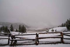 Yellowstone fence. Stock Photo