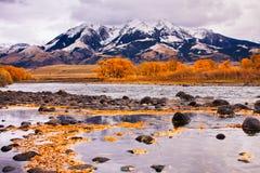 Yellowstone-Fluss u. Absaroka Berge Stockfotografie