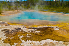 Yellowstone Geyser. Beautiful cerulean geyser surrounded by colorful layers of bacteria, against cloudy blue sky Stock Photos