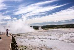 Yellowstone Geyser Vista Stock Photography