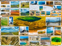 Yellowstone Glory Pool Collage Image stock