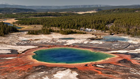 Yellowstone Grand Prismatic Spring aerial view Stock Image