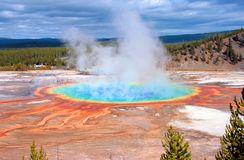 Yellowstone - Grand Prismatic Spring. The beautiful and fully colored Grand Prismatic Spring in the Yellowstone National Park Royalty Free Stock Image