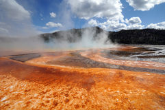 Yellowstone hot color. Orange crust surrounds one of Yellowstone's smoldering springs royalty free stock photos
