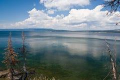 Yellowstone Lake. Wide view of yellowstone lake at midday Stock Photo