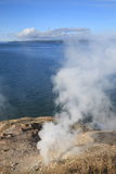 Yellowstone Lake and Hot Springs Royalty Free Stock Image