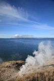 Yellowstone Lake and Hot Springs Stock Photos