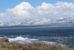 Yellowstone Lake. Ice on the lakes in late May in the high altitudes of Yellowstone National Park Stock Photo
