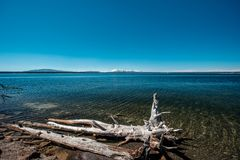 Yellowstone Lake with mountains landscape. Wyoming, USA royalty free stock photos