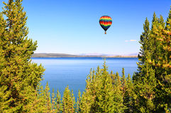 The Yellowstone lake in the Yellowstone stock images