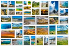 Yellowstone landscapes collage Royalty Free Stock Photo
