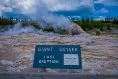 YELLOWSTONE MONTANA, USA MAY 24, 2018: Informativt tecken av den jätte- geyseren, den andra mest högväxta geyseren av världen övr arkivbilder