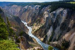 Yellowstone mountain waterfall river landscape, Wyoming USA Royalty Free Stock Image