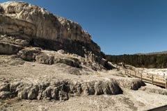 Yellowstone Nationaal park, Minerva Terrace in de Mammoet Hete Lentes Royalty-vrije Stock Foto's