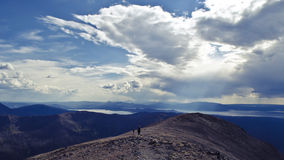 Yellowstone National Park: Avalanche Peak Hiking Trail. Beautiful photograph of hikers on the Avalanche Peak hiking trail in the southeast corner of Yellowstone stock image