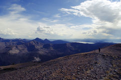 Yellowstone National Park: Avalanche Peak Hiking Trail. Beautiful photograph of hikers on the Avalanche Peak hiking trail in the southeast corner of Yellowstone stock images