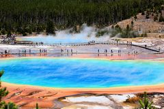 Yellowstone National Park Beautiful geothermal Texture. Yellowstone National Park Beautiful geothermal activity texture colorful grand prismatic spring royalty free stock photos