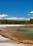 Yellowstone National Park. Colourful thermal spring located in the Grand Prismatic Spring area of Yellowstone National Park, Wyoming stock photos