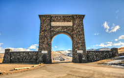 Yellowstone National Park Entrance, Arch. Roosevelt Arch at the North Entrance to Yellowstone National Park in Gardiner, Montana which was dedicated in 1903 Stock Image