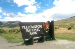 Yellowstone National Park. Entrance sign park Royalty Free Stock Photos