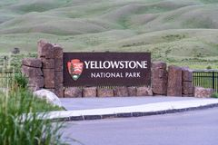 Yellowstone National Park entrance sign in the north end of the park royalty free stock photos
