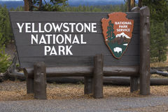 Yellowstone National Park entry sign at the south entrance Royalty Free Stock Image