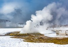 Yellowstone National Park with geothermal geyser during winter stock photo