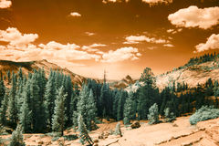 Yellowstone National Park with Half Dome in infrared. Landscape of Yellowstone National Park, California with view of Half Dome in infrared Royalty Free Stock Photography