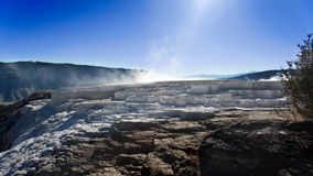 Yellowstone National Park: Mammoth Hot Spring. With blue skies Stock Image