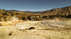 Yellowstone National park, Mammoth Hot Springs. View of Mammoth hot springs,top view, survey panorama.Yellowstone national park,WY,MT,USA Royalty Free Stock Photos
