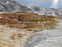 Yellowstone National Park, Mammoth Hot Springs. Mineral deposits calcium stock image