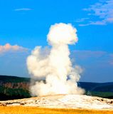 Yellowstone National Park old faithful beautiful blue sky royalty free stock photography