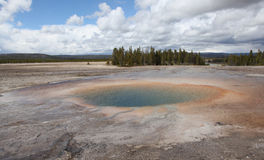 Yellowstone national Park. Opal pool in lower Geyser basin beside Grand Prismatic Spring Stock Image